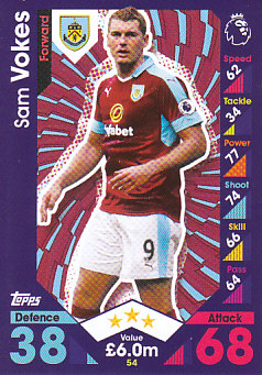 Sam Vokes Burnley 2016/17 Topps Match Attax #54