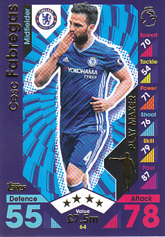 Cesc Fabregas Chelsea 2016/17 Topps Match Attax Play Maker #64