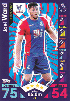 Joel Ward Crystal Palace 2016/17 Topps Match Attax #76