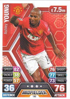 Ashley Young Manchester United 2013/14 Topps Match Attax #190
