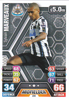 Sylvain Marveaux Newcastle United 2013/14 Topps Match Attax #206