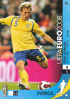 Erik Edman Sweden Panini Euro 2008 Card Game #34