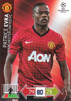 Patrice Evra Manchester United 2012/13 Panini Adrenalyn XL CL #137