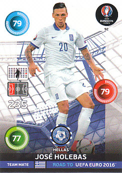 Jose Holebas Greece Panini Road to EURO 2016 #92