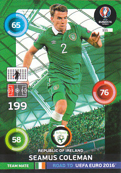 Seamus Coleman Republic of Ireland Panini Road to EURO 2016 #111