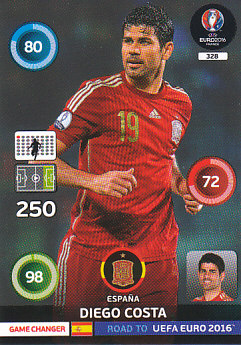 Diego Costa Spain Panini Road to EURO 2016 Game Changers #328