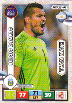 Sergio Romero Argentina Panini Road to 2018 World Cup #ARG01