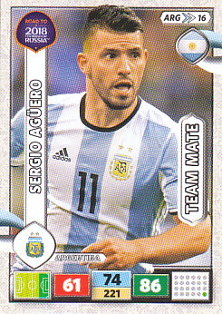 Sergio Aguero Argentina Panini Road to 2018 World Cup #ARG16