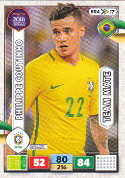 Philippe Coutinho Brazil Panini Road to 2018 World Cup #BRA17