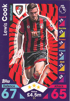 Lewis Cook AFC Bournemouth 2016/17 Topps Match Attax #11