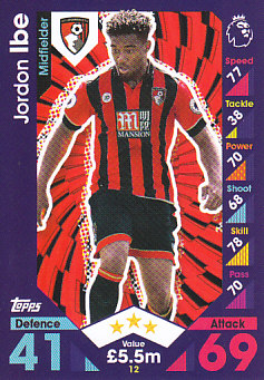 Jordan Ibe AFC Bournemouth 2016/17 Topps Match Attax #12