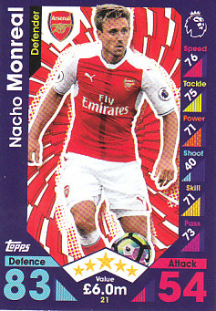 Nacho Monreal Arsenal 2016/17 Topps Match Attax #21