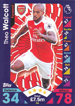 Theo Walcott Arsenal 2016/17 Topps Match Attax #36