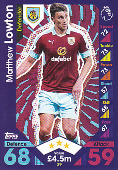 Matthew Lowton Burnley 2016/17 Topps Match Attax #39