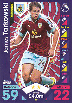 James Tarkowski Burnley 2016/17 Topps Match Attax #40