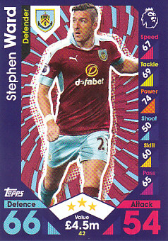 Stephen Ward Burnley 2016/17 Topps Match Attax #42