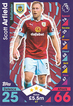 Scott Arfield Burnley 2016/17 Topps Match Attax #47
