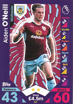 Aiden O'Neill Burnley 2016/17 Topps Match Attax #51