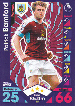 Patrick Bamford Burnley 2016/17 Topps Match Attax #52