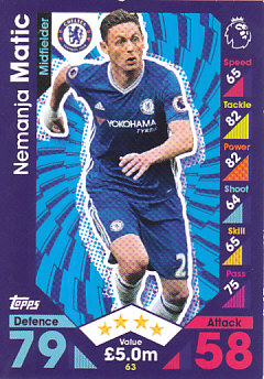 Nemanja Matic Chelsea 2016/17 Topps Match Attax #63