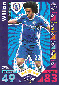 Willian Chelsea 2016/17 Topps Match Attax #66