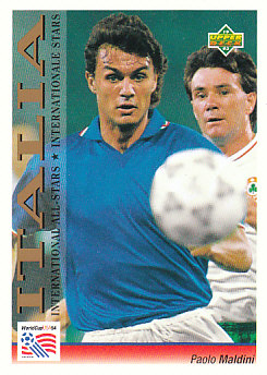 Paolo Maldini Italy Upper Deck World Cup 1994 Preview Eng/Ger International All-Stars #104