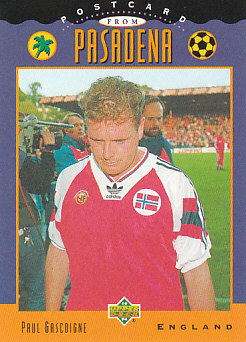 Paul Gascoigne England Upper Deck World Cup 1994 Eng/Ger Postcard from Pasadena #UD05