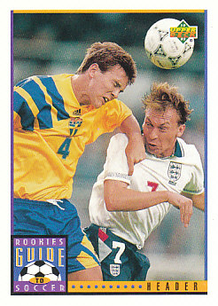 Header Upper Deck World Cup 1994 Preview Eng/Spa Rookies Guide to Soccer #119