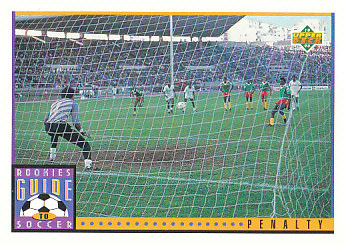 Penalty Kick Upper Deck World Cup 1994 Preview Eng/Spa Rookies Guide to Soccer #125