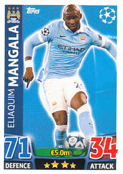 Elaquim Mangala Manchester City 2015/16 Topps Match Attax CL #42