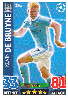 Kevin de Bruyne Manchester City 2015/16 Topps Match Attax CL #50