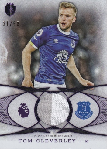 Tom Cleverley Everton JERSEY 2016 Topps Premier Gold Football Fibers Relics Purple /50 #FFTC