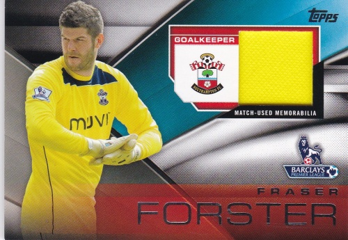 Fraser Forster Southampton JERSEY 2014 Topps Premier Gold Football Fibers Relics #FFRFF