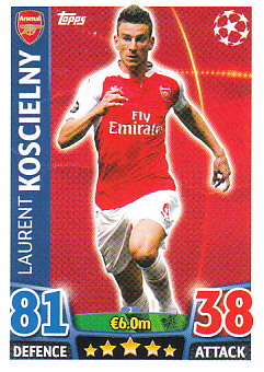Laurent Koscielny Arsenal 2015/16 Topps Match Attax CL #2