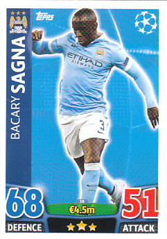 Bacary Sagna Manchester City 2015/16 Topps Match Attax CL #38