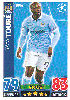 Yaya Toure Manchester City 2015/16 Topps Match Attax CL #47
