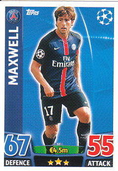 Maxwell Paris Saint-Germain 2015/16 Topps Match Attax CL #57