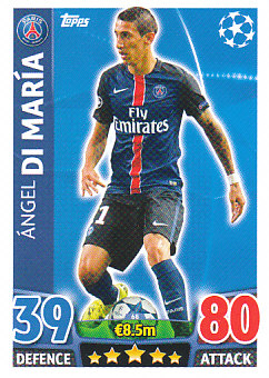 Angel Di Maria Paris Saint-Germain 2015/16 Topps Match Attax CL #68