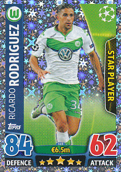 Ricardo Rodriguez VfL Wolfsburg 2015/16 Topps Match Attax CL Star Player #113