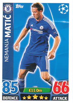 Nemanja Matic Chelsea 2015/16 Topps Match Attax CL #135