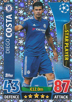 Diego Costa Chelsea 2015/16 Topps Match Attax CL Star Player #143