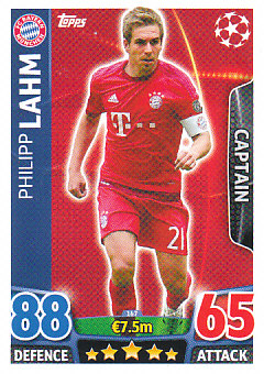 Philipp Lahm Bayern Munchen 2015/16 Topps Match Attax CL Captain #167