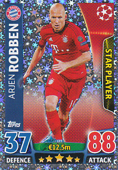 Arjen Robben Bayern Munchen 2015/16 Topps Match Attax CL Star Player #177